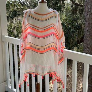 Vince Camuto Shawl Tassel Wrap Pink Orange Stripes